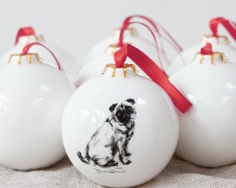 Mops Hund Christbaumkugel - Weihnachten Dekoration - Mops-Geschenk - Geschenk Mops Liebhaber