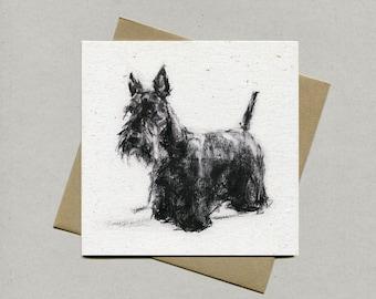Scottish Terrier card, terrier greetings card - Scottie terrier gift, Scottie lover, terrier present, Scottie gift card
