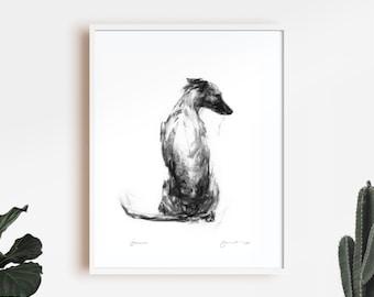 Dog drawing print, Whippet Art Print - fine art dog print - whippet gift - whippet sketch print