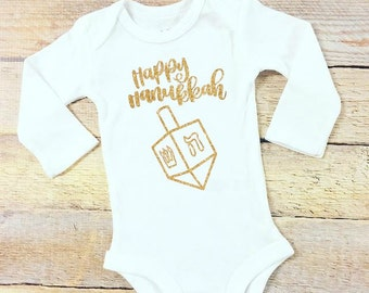 Happy Hanukkah dreidel white bodysuit