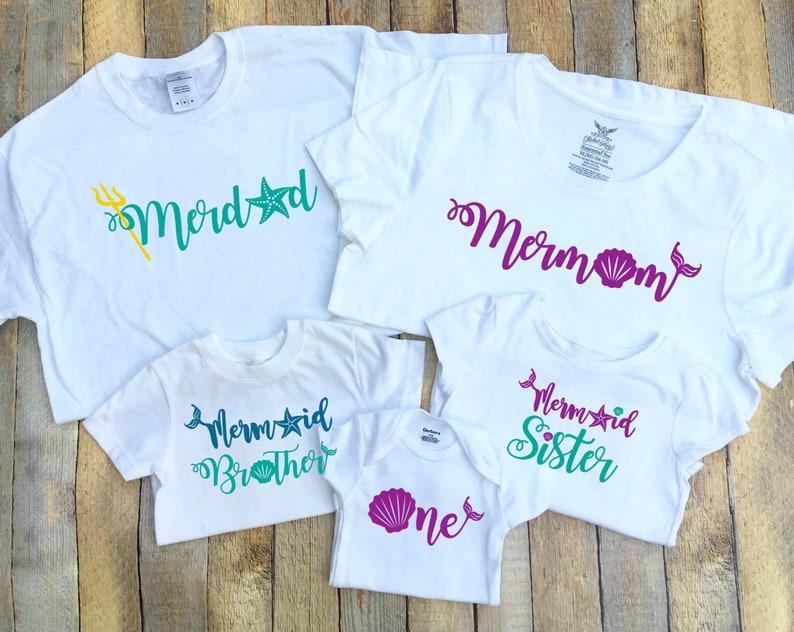Birthday Mermaid Family Shirts Merdad Mermom Sister