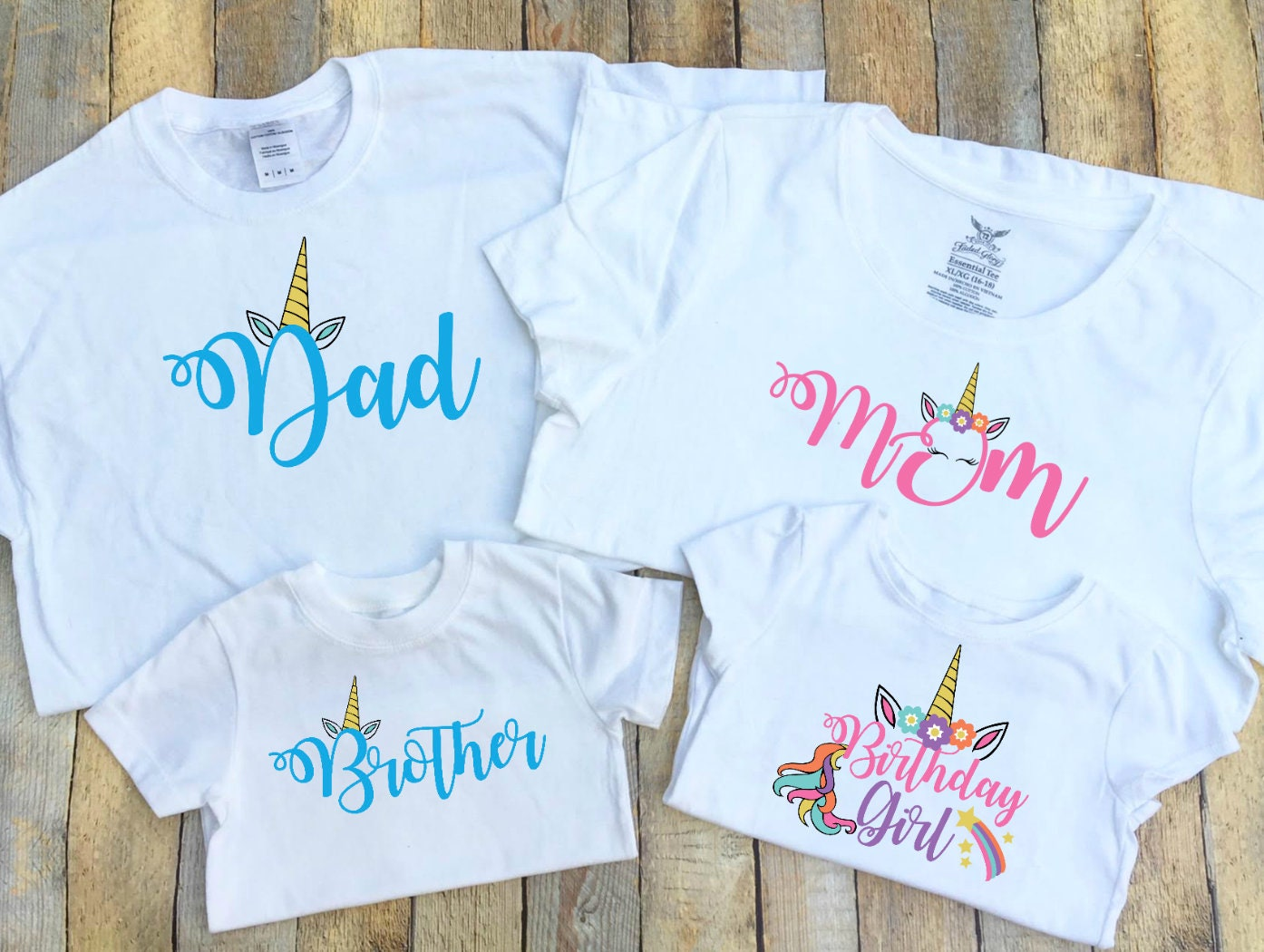Dad Mom Brother Birthday Girl Unicorn Family T Shirts   Etsy