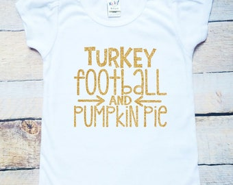 Turkey football and pumpkin pie gold glitter white t-shirt, short or long sleeve