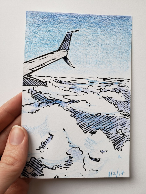 Airplane Wing And Clouds Original Colored Pencil And Marker Etsy