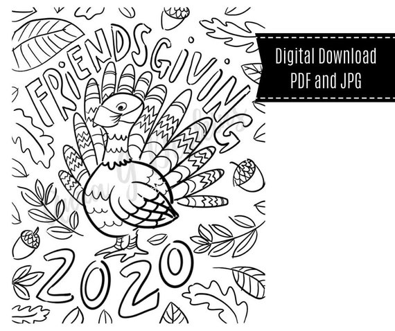 Friendsgiving 2020 Coloring Page Turkey with Mask