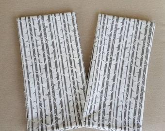 dinner cloth napkins-birch trees on greige