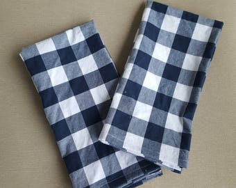 dinner cloth napkins- navy  blue and white buffalo check set