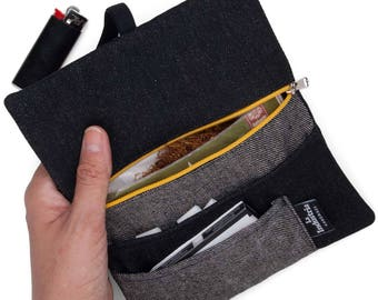 Rolling Tobacco Pouch - Tobacco Case, Tobacco Holder Bag organizer Black Denim