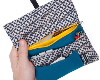 Rolling Tobacco Pouch with a Japanese pattern, Tobacco wallet with compartments for filter tips, papers and lighter