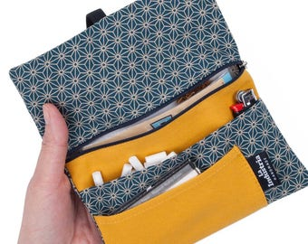Tobacco Case, Rolling Tobacco Pouch with a Japanese pattern, Tobacco holder bag with compartments for filter tips, papers and lighter Maki