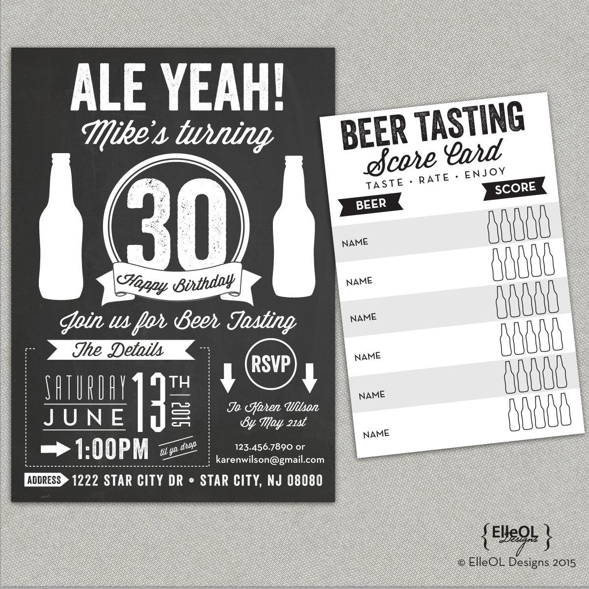 Chalkboard beer tasting birthday party invitation Ale Yeah | Etsy