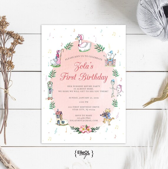 Nursery Rhyme Birthday Invitation Watercolor Mother Goose