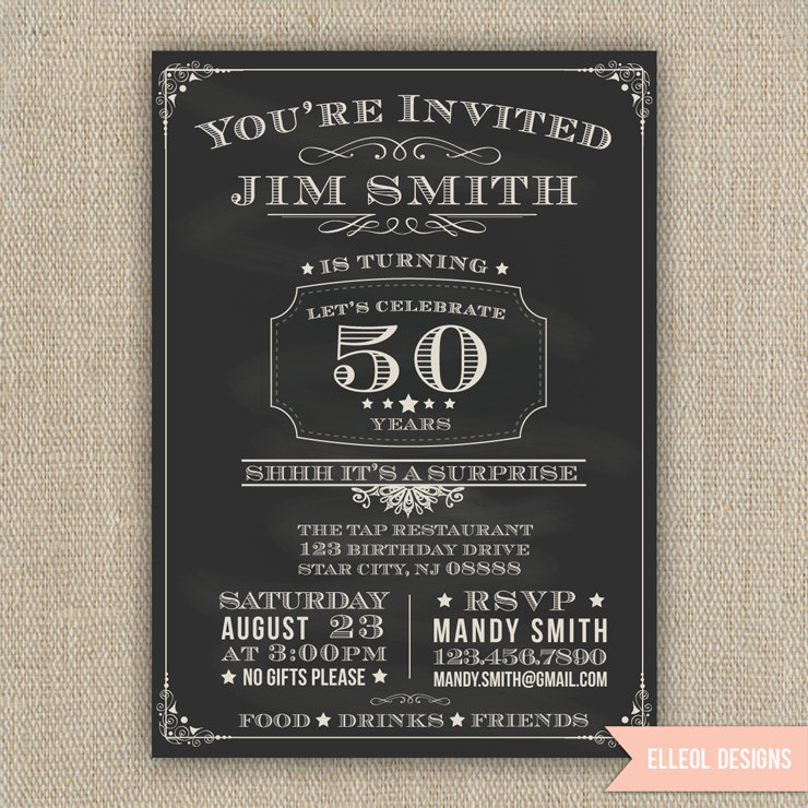 21st 30th 40th 50th 60th Surprise Birthday Party Invitation