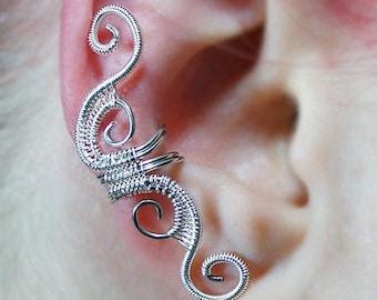Swirly Ear Cuff, Woven Swirls Ear Cuff, Custom Colors Available