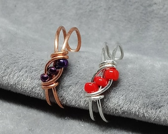Dainty Beaded Ear Cuff, Copper or Sterling Silver, Several Bead Colors Available