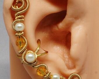 Gold Fairy Ear Cuff Glass Pearl Ear Cuff Topaz Crystal  One of a Kind