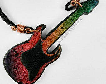 Guitar Necklace Polymer Clay Faux Dichroic Glass, Red, Black, Orange, Yellow, Green, Copper, Adjustable Necklace