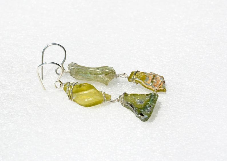 Israeli Jewelry Roman Glass Jewelry Roman Glass Earrings from Israel Silver OOAK Long Green Roman Glass Earring Silver Jewelry Free Shipping