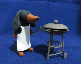 Grilling Dachshund figurine - ready to ship