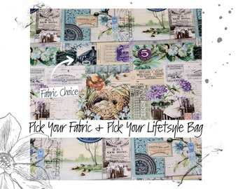Vintage Scenes PICK YOUR FABRIC + Pick your Lifestyle Bag. Custom Toiletry, Project and Tote Bags.
