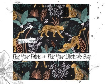 Serengeti Leopard PICK YOUR FABRIC + Pick your Lifestyle Bag. Custom Toiletry, Project and Tote Bags.