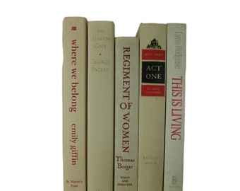 Stacked Book Set in Shades of Tan for Mantel Decor and  Bookshelf Design, Book Stacks for Home Office , Light Academia  Book Bundle