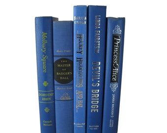 Blue Book Stack, Decorative Books for Staging, for Styling, Mantel Decor, Entryway Decor on Table, Bookish Themed Wedding, Gift Book Lover