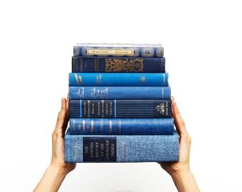 Blue Books by the Foot,  Blue Decorative Books, Vintage  Book Sets,  Color Block Shelf Decor,  Books by the Color