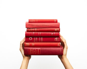 Red Decorative Book Sets for Home Staging,  Bookshelf Display, Old Books for Decoration, Books by the Foot for Library Decor