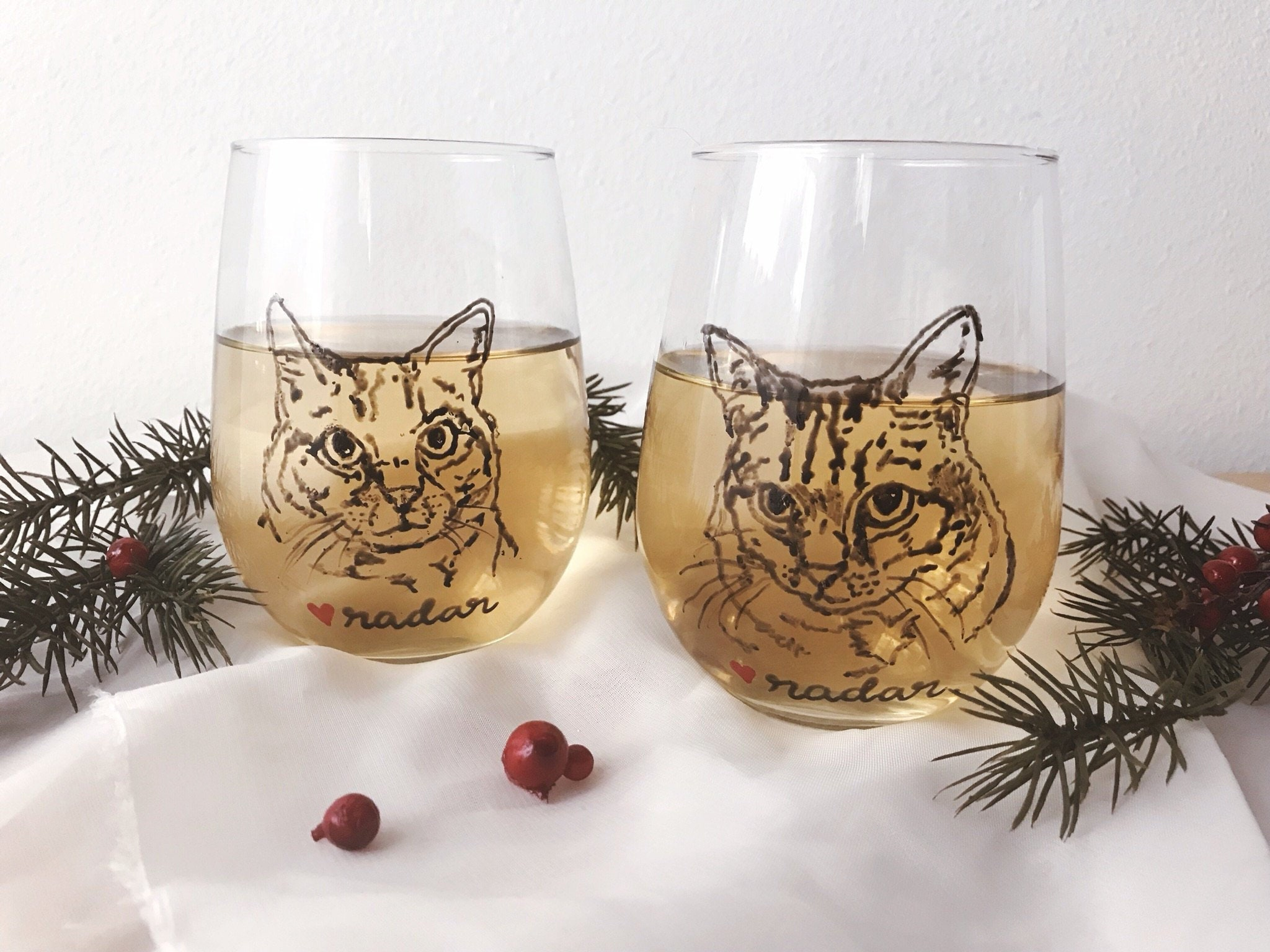 Cat Wine Glasses Set Of Two Personalized Cat Wine Glass Set Etsy