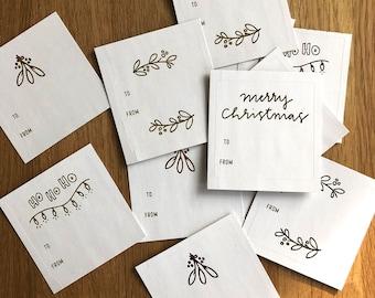 Gretchen Carpenter Designs X Tiny Acorns / Gold Foil / Christmas Gift Stickers / Set of 12