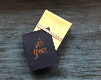 Bee You Gold Foil Folded Notecards / Thank You Notes / Set of 8