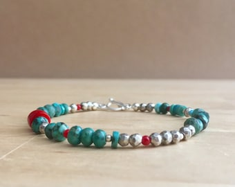Turquoise, Pyrite and Coral Bracelet