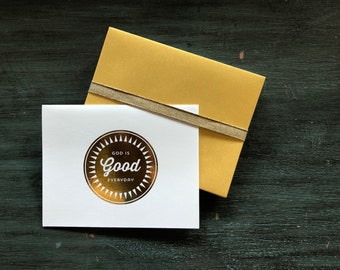 God is Good Gold Foil Folded Notecards / Thank You Notes / Set of 8