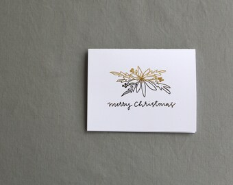 Gretchen Carpenter Designs X Tiny Acorns / Gold Foil / Merry Christmas Floral Christmas Card