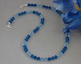 Swarovski Crystal Beaded Necklace In Capri Blue & Aquamarine   FREE SHIPPING