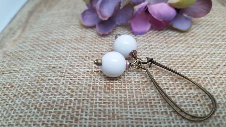 Snowball Earrings Gift for her White Sphere Earrings White Stone Earrings Natural Earrings White Boho Earrings