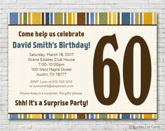 Masculine Birthday Party Invitation - Printable or Printed (w/ FREE Envelopes)