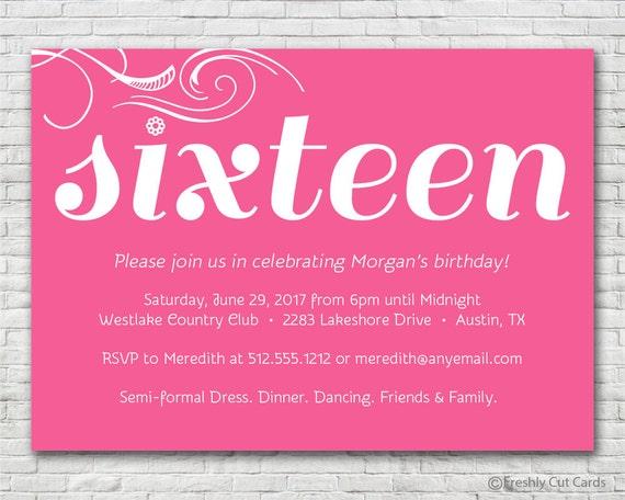 simple and sweet sixteen birthday invitation printable or printed