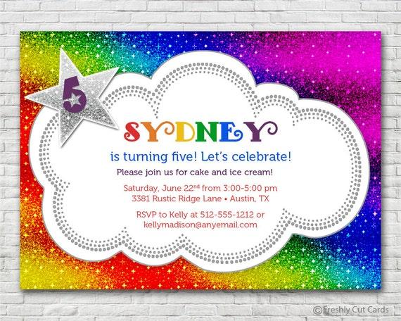 Sparkly Rainbow Birthday Party Invitation Printable Or