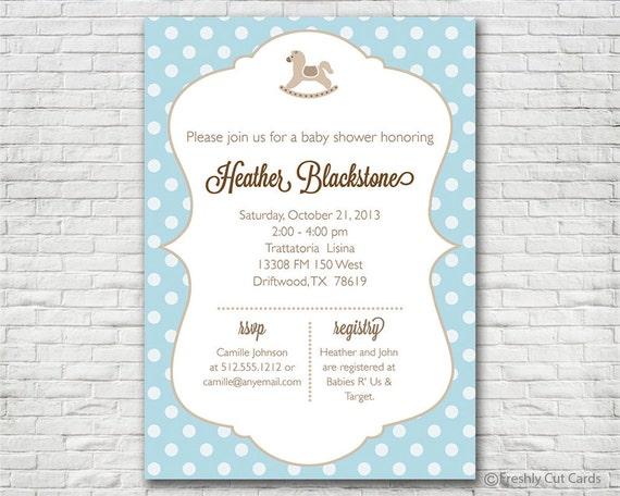 Rocking horse and polka dots baby shower invitation etsy image 0 filmwisefo