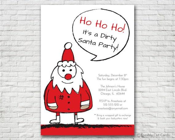 dirty santa holiday party invitation printable or printed etsy