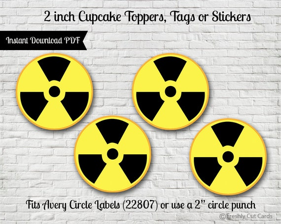Radioactive Symbol 2 Printable Treat Toppers Or Labels Etsy