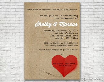 Simple and Sweet Engagement Invitation - Printable or Printed (w/ FREE Envelopes)