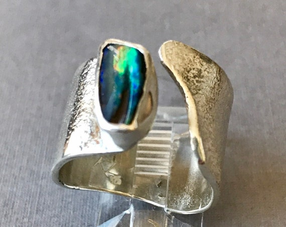 Queensland dark opal on reticulated silver ring