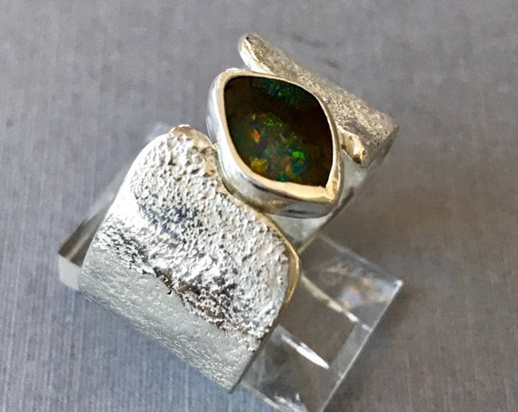 Queensland dark opal wide band of reticulated silver ring