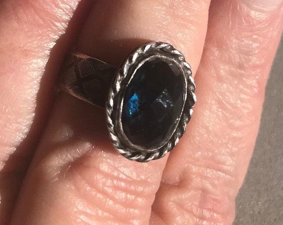 Deep blue tourmaline ring