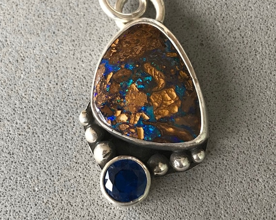 Boulder Opal and blue spinnel pendant