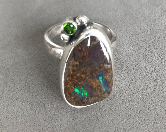 Boulder Opal and Chrome Diopside ring