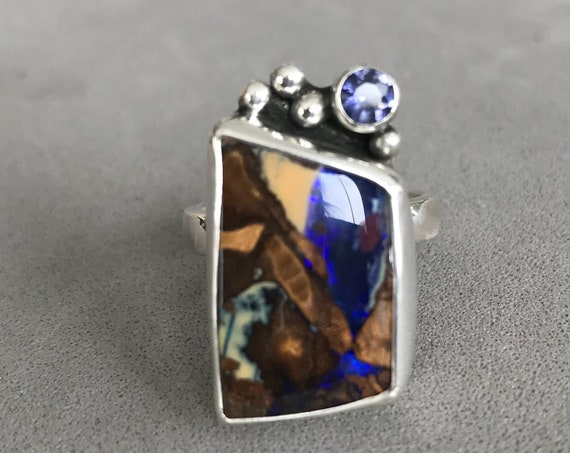 Boulder Opal and Iolite ring